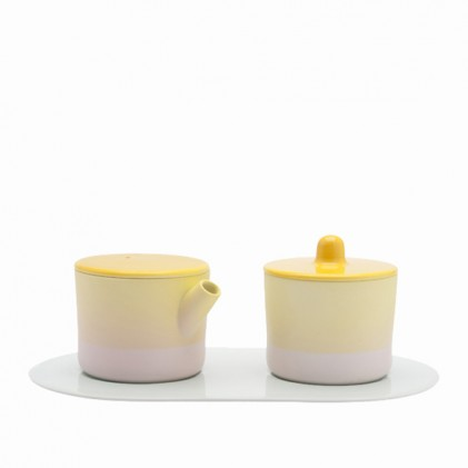 s.b. 33 roomstel lichtblauw roze geel